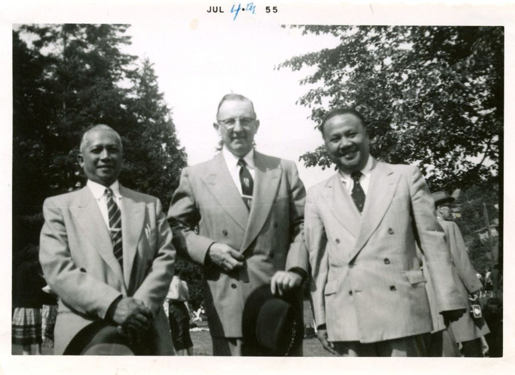 W W Patterson (center) and Indonesian brethren in July, 1955.
